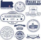 Generische Stempel und Zeichen von Harrisburg-Stadt, PA Stockfotografie