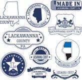 Generische Stempel und Zeichen von Lackawanna County, PA Stockfotografie