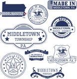 Generische Stempel und Zeichen von Middletown, PA Stockbild
