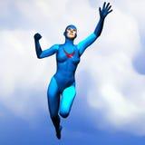 Generische super heldenvrouw die in blauw 2 vliegt Royalty-vrije Stock Afbeeldingen