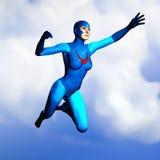 Generische Superheldfrau in blauem Flugwesen 1 Stockbilder