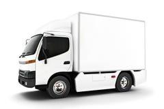 Generische witte industriële vervoervrachtwagen op een witte achtergrond Zaal voor tekst of exemplaarruimte Stock Fotografie