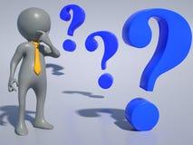 Generisk affärsperson: frågor Arkivfoton