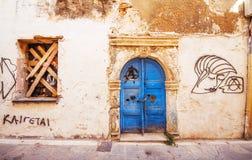 9 9 2016 - Generisk arkitektur i den gamla staden av Rethymno Arkivbilder