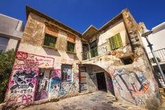 9 9 2016 - Generisk arkitektur i den gamla staden av Rethymno Royaltyfria Foton