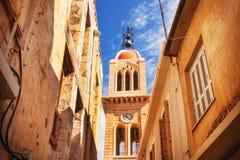 9 9 2016 - Generisk arkitektur i den gamla staden av Rethymno, Kreta Arkivbild