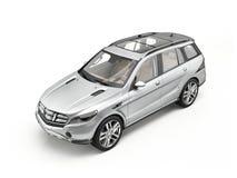 Generisk lyxig silverSUV bil som isoleras på vit royaltyfri foto