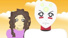 Generiskt fejka den anime- eller Manga handlingshowen - två teckenstående vektor illustrationer