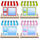 Generiskt shoppa byggnadssymbolsuppsättningen Arkivbilder