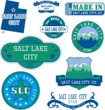 Generiskt stämplar och tecken av Salt Lake City, UT Arkivbilder