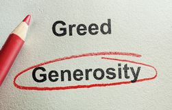 Generosity and Greed. Generous text circled in red below Greed stock photo