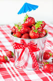 Generous crop of ripe fresh juicy gourmet strawberry in decorati Royalty Free Stock Images