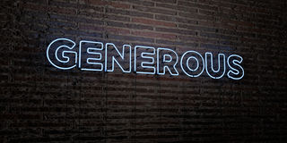GENEROUS -Realistic Neon Sign on Brick Wall background - 3D rendered royalty free stock image Stock Photography