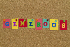 Generous word written on colorful notes Stock Image