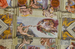 Genesis - sistine chapel, michelangelo buonaroti. Ceiling details over the large windows of the Sistine Chapel Stock Photography