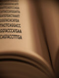Genetic Code. Genetice code on a page of an open book Stock Image