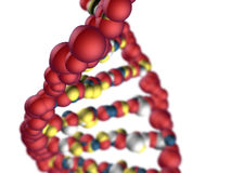 Genetic code. DNA. Close up, color abstract rendering of double helix dna strand with depth a of field effect Stock Photo