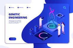Genetic concept. DNA nanotechnology biochemistry and human genome DNA engineering. Molecular biology 3d vector landing royalty free illustration
