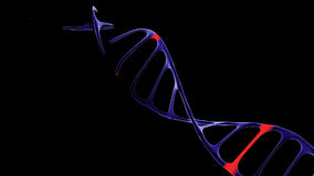 Genetic data string concept of a blue double helix DNA molecule, seamless 3D animation loop
