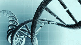 Genetic DNA. A picture of a DNA strand. A 3D illustration of a genetic code chain with grid background. Abstract close up of a chromosome helix in bright water Stock Photos