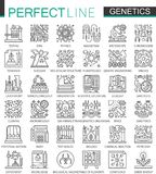 Genetic Engineering and biochemistry outline mini concept symbols. Modern stroke linear style illustrations set. Perfect. Thin line icons Stock Images