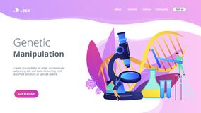 Genetic engineering concept landing page. Microscope and scientists changing DNA structure. Genetic engineering, genetic modification and genetic manipulation vector illustration