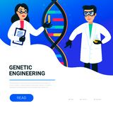 Genetic engineering concept. Scientists working in nanotechnology or biochemistry laboratory. Molecule helix of dna. Genome or gene structure. Human genome royalty free illustration