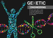 Genetic Engineering Horizontal. Genetic engineering infographic vector illustration. DNA graphic vector. Science book cover. Genetically modified