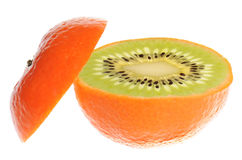 Genetic engineering - kiwi inside of atangerine stock photo