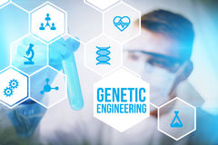 Genetic engineering researcher concept. Genetic engineering research concept of human biotech modification and gene therapy Royalty Free Stock Image