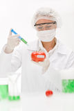 Genetic engineering - scientist in laboratory. Genetic engineering - scientists in laboratory, GMO testing experiment stock image