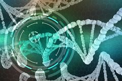 Genetic Engineering. The study of the structure of DNA and RNA, the introduction of changes at the gene level. Modern medical research of stem cells. 3D vector illustration