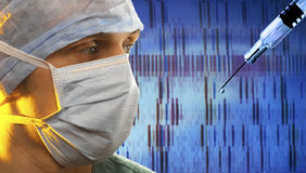 Genetic Fingerprinting - DNA Analysis. Bio-medical technician working with genetic fingerprinting Stock Photo