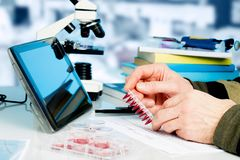 Genetic laboratory. Workplace in the laboratory of genetic research stock images