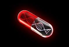 Genetic Medicine isolated on black. With dubble helix stock photos