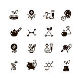 Genetic modification biotechnology and dna research vector micro icons. Gmo research, biotechnology genetic dna illustration Royalty Free Stock Photography
