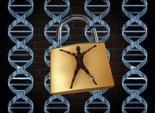 Genetic Prison. And human engineering of DNA as the biotechnology science concept for unlocking the secrets of the human genome to free humans of disease and vector illustration