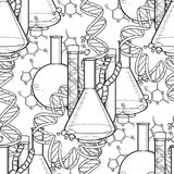 Genetic research pattern. Graphic test tube, DNA sequences and chemical formulas. Vector medical seamless pattern. Coloring book page design for adults and Royalty Free Stock Photography
