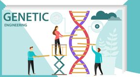 Genetic scientists edit DNA. Group of scientists or researchers wearing white coats analyzing DNA molecule in science lab. Men and. Woman scientis, laboratory royalty free illustration