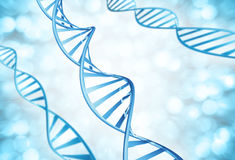 Genetic strands of DNA molecules magnified Stock Photography