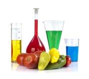 Genetically доработанный организм - зрелые перцы, томаты и стеклоизделие лаборатории стоковые фотографии rf