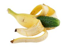 Genetically altered food. Banana with cucumber Stock Photo