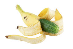 Genetically altered food. Banana with cucumber Royalty Free Stock Photography