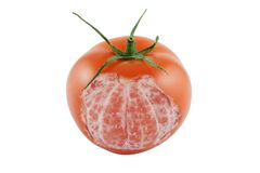Genetically altered tomato. Isolated on white Royalty Free Stock Photo