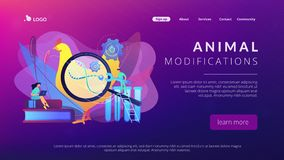 Genetically modified animals concept landing page. stock illustration