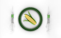 Genetically modified corn on a white background 3d Royalty Free Stock Image