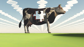Genetically modified cow. With puzzle piece missing royalty free illustration