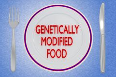 GENETICALLY MODIFIED FOOD concept. 3D illustration of GENETICALLY MODIFIED FOOD title on a pale blue plate, along with silver knif and fork, on a blue gradient Royalty Free Stock Image
