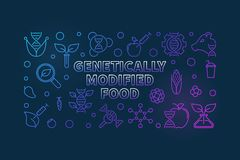 Genetically Modified Food vector colorful outline illustration. Genetically Modified Food vector colorful outline horizontal illustration on dark background vector illustration