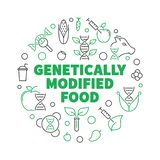 Genetically Modified Food vector round outline illustration. Genetically Modified Food vector round concept illustration in thin line style on dark background vector illustration